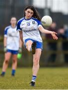 18 February 2018; Katie Duffy of Monaghan takes a free during the Lidl Ladies Football National League Division 1 Round 3 refixture match between Monaghan and Kerry at IT Blanchardstown in Blanchardstown, Dublin. Photo by Piaras Ó Mídheach/Sportsfile