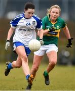 18 February 2018; Eva Woods of Monaghan in action against Deidre Kearney of Kerry during the Lidl Ladies Football National League Division 1 Round 3 refixture match between Monaghan and Kerry at IT Blanchardstown in Blanchardstown, Dublin. Photo by Piaras Ó Mídheach/Sportsfile