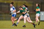 18 February 2018; Sarah Murphy of Kerry in action against Katie Duffy of Monaghan during the Lidl Ladies Football National League Division 1 Round 3 refixture match between Monaghan and Kerry at IT Blanchardstown in Blanchardstown, Dublin. Photo by Piaras Ó Mídheach/Sportsfile