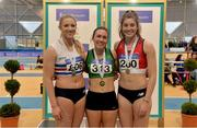18 February 2018; Senior Women 200m medallists, from left, Sarah McCarthy of Mid Sutton AC, Co Dublin, silver, Niamh Whelan of Ferrybank AC, Co Waterford, gold, and Katherine O'Connor of Dundalk St. Gerards AC, Co Louth, brozne, during the Irish Life Health National Senior Indoor Athletics Championships at the National Indoor Arena in Abbotstown, Dublin. Photo by Sam Barnes/Sportsfile