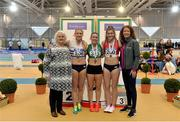 18 February 2018; Senior Women 200m medallists, from left, Sarah McCarthy of Mid Sutton AC, Co Dublin, silver, Niamh Whelan of Ferrybank AC, Co Waterford, gold, and Katherine O'Connor of Dundalk St. Gerards AC, Co Louth, brozne, with Georgina Drumm, President of Athletics Ireland, far left, and Liz Rowen, Head of Marketing for Irish Life Health, far right, during the Irish Life Health National Senior Indoor Athletics Championships at the National Indoor Arena in Abbotstown, Dublin. Photo by Sam Barnes/Sportsfile