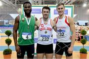 18 February 2018; Senior Men 400m medallists, from left, Brandon Arrey of Blarney/Inniscara AC, Co Cork, silver, Andrew Mellon of Crusaders AC, Co Dublin, gold, and Jason Harvey of Crusaders AC, Co Dublin, bronze, during the Irish Life Health National Senior Indoor Athletics Championships at the National Indoor Arena in Abbotstown, Dublin. Photo by Sam Barnes/Sportsfile