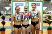 18 February 2018; Senior Women 60m medallists, from left, Joan Healy of Bandon AC, Co Cork, silver, Amy Foster of City of Lisburn AC, Co Down, gold and Ciara Neville of Emerald AC, Co Limerick, bronze, during the Irish Life Health National Senior Indoor Athletics Championships at the National Indoor Arena in Abbotstown, Dublin. Photo by Sam Barnes/Sportsfile