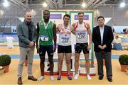 18 February 2018; Senior Men 400m medallists, from left, Brandon Arrey of Blarney/Inniscara AC, Co Cork, silver, Andrew Mellon of Crusaders AC, Co Dublin, gold, and Jason Harvey of Crusaders AC, Co Dublin, bronze, with Jim Dowdall, Managing Director, Irish Life Health, far left, and John Foley, CEO Athletics Ireland, far right, during the Irish Life Health National Senior Indoor Athletics Championships at the National Indoor Arena in Abbotstown, Dublin. Photo by Sam Barnes/Sportsfile