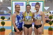 18 February 2018;  Senior Women 400m medallists, from left, Catherine McManus of Dublin City Harriers AC, Co Dublin, silver, Phil Healy of Bandon AC, Co Cork, gold, and Sinead Denny of Dundrum South Dublin AC, Co Dublin, bronze, during the Irish Life Health National Senior Indoor Athletics Championships at the National Indoor Arena in Abbotstown, Dublin. Photo by Sam Barnes/Sportsfile