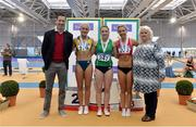 18 February 2018; Senior Women 60mH medallists, from left, Sarah Lavin of U.C.D. AC, Co Dublin, silver, Elizabeth Morland of Cushinstown AC, Co Meath, gold, and Lilly-Ann Ohora of Dooneen AC, Co Limerick, bronze, with David Matthews, far left, and Georgina Drumm, President of Athletics Ireland, far right, during the Irish Life Health National Senior Indoor Athletics Championships at the National Indoor Arena in Abbotstown, Dublin. Photo by Sam Barnes/Sportsfile