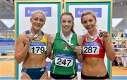 18 February 2018; Senior Women 60mH medallists, from left, Sarah Lavin of U.C.D. AC, Co Dublin, silver, Elizabeth Morland of Cushinstown AC, Co Meath, gold, and Lilly-Ann Ohora of Dooneen AC, Co Limerick, bronze, during the Irish Life Health National Senior Indoor Athletics Championships at the National Indoor Arena in Abbotstown, Dublin. Photo by Sam Barnes/Sportsfile