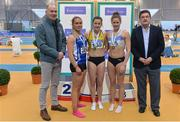 18 February 2018;  Senior Women 400m medallists, from left, Catherine McManus of Dublin City Harriers AC, Co Dublin, silver, Phil Healy of Bandon AC, Co Cork, gold, and Sinead Denny of Dundrum South Dublin AC, Co Dublin, bronze, with Jim Dowdall, Managing Director, Irish Life Health, far left, and John Foley, CEO Athletics Ireland, far right, during the Irish Life Health National Senior Indoor Athletics Championships at the National Indoor Arena in Abbotstown, Dublin. Photo by Sam Barnes/Sportsfile