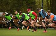 19 February 2018; Darren Sweetnam, Simon Zebo, Dan Goggin, Tyler Bleyendaal, Dave O'Callaghan and Chris Cloete during Munster Rugby squad training at the University of Limerick in Limerick. Photo by Diarmuid Greene/Sportsfile
