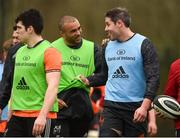 19 February 2018; Dave O'Callaghan and Simon Zebo during Munster Rugby squad training at the University of Limerick in Limerick. Photo by Diarmuid Greene/Sportsfile