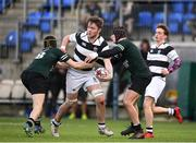 19 February 2018; Ruadhan Byron of Belvedere College in action against Muiris Cleary and Mark Moynihan of Newbridge College during the Bank of Ireland Leinster Schools Senior Cup Round 2 match between Belvedere College and Newbridge College at Donnybrook Stadium in Dublin. Photo by Sam Barnes/Sportsfile