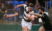 19 February 2018; James Gleeson of Belvedere College in action against Thomas Grant, left and Dylan Morrissey of Newbridge College during the Bank of Ireland Leinster Schools Senior Cup Round 2 match between Belvedere College and Newbridge College at Donnybrook Stadium in Dublin. Photo by Sam Barnes/Sportsfile