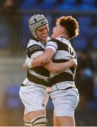 19 February 2018; Matthew Grogan of Belvedere College, right, celebrates with team-mate Cian Scott after scoring his side's third try during the Bank of Ireland Leinster Schools Senior Cup Round 2 match between Belvedere College and Newbridge College at Donnybrook Stadium in Dublin. Photo by Sam Barnes/Sportsfile