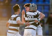 19 February 2018; Matthew Grogan of Belvedere College, right, celebrates with team-mates Cian Scott and Cailean Mulvaney after scoring his side's third try during the Bank of Ireland Leinster Schools Senior Cup Round 2 match between Belvedere College and Newbridge College at Donnybrook Stadium in Dublin. Photo by Sam Barnes/Sportsfile