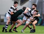 19 February 2018; Ruadhan Byron of Belvedere College in action against Muiris Cleary and Dylan Morrissey of Newbridge College during the Bank of Ireland Leinster Schools Senior Cup Round 2 match between Belvedere College and Newbridge College at Donnybrook Stadium in Dublin. Photo by Sam Barnes/Sportsfile