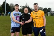 7 February 2018; Referee Brendan Cawley with team captain Stephen Coen of UCD and Diarmuid O'Connor of DCU before the Electric Ireland HE GAA Sigerson Cup Quarter-Final match between DCU and UCD at DCU Sportsgrounds in Ballymun, Dublin.  Photo by Piaras Ó Mídheach/Sportsfile