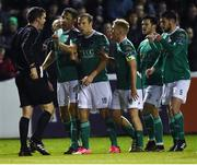 16 February 2018; Cork City players, from left,  Alan Bennett, Karl Sheppard, Conor McCormack, Jimmy Keohane and Aaron Barry speak to Referee Robert Harvey after he showed a red card to Graham Cummins during the SSE Airtricity League Premier Division match between St Patrick's Athletic and Cork City at Richmond Park, in Dublin. Photo by Tom Beary/Sportsfile