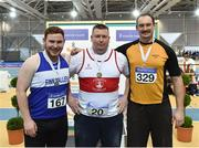 18 February 2018; Senior Men Shot Put medalists, from left, John Kelly of Finn Valley A.C. Donegal, Sean Breathnach Galway of City Harriers A.C. and David Tierney Leevale A.C. Cork, during the Irish Life Health National Senior Indoor Athletics Championships at the National Indoor Arena in Abbotstown, Dublin. Photo by Eóin Noonan/Sportsfile
