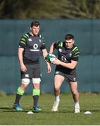 20 February 2018; Jordan Larmour, right, and Jordi Murphy during Ireland Rugby squad training at Carton House in Maynooth, Co Kildare. Photo by David Fitzgerald/Sportsfile
