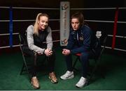 20 February 2018; Boxers Amy Broadhurst, left, of Dealgan Boxing Club, Dublin, and Grainne Walsh of Sparticus Boxing Club, Tullamore, Co Offaly, during the launch of the Liffey Crane Hire Elite Boxing Championship at the National Stadium in Dublin. Photo by Seb Daly/Sportsfile