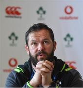 20 February 2018; Defence coach Andy Farrell during an Ireland press conference at Carton House in Maynooth, Co Kildare. Photo by David Fitzgerald/Sportsfile