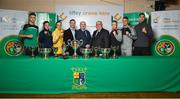 20 February 2018; Pictured is, from left, Michael Kevin, of Portlaoise Boxing Club, Co. Laois, Grainne Walsh, of Sparticus Boxing Club, Tullamore, Co. Offaly, Kellie Harrington, of St. Mary's Boxing Club, Dublin, Michael Gill, Managing Director Liffey Crane Hire, Fergal Carruth, CEO of the IABA, Dominic O'Rourke, President of the IABA, Amy Broadhurst, of Dealgan Boxing Club, Dublin, Kevin Sheehy, of St. Franis Boxing Club, Limerick, and Kirill Afanasev, of Smithfield Boxing Club, Dublin,  during the launch of the Liffey Crane Hire Elite Boxing Championship at the National Stadium in Dublin. Photo by Seb Daly/Sportsfile