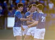20 February 2018; Michael McEvoy, left, and Eoin Franklin of St Mary's College celebrate after the Bank of Ireland Leinster Schools Senior Cup Round 2 match between Cistercian College Roscrea and St Mary's College at Donnybrook Stadium in Dublin. Photo by Daire Brennan/Sportsfile