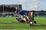 20 February 2018; Adam McEvoy of St Mary's College is tackled by James Corcoran of Cistercian College Roscrea before scoring his side's first try during the Bank of Ireland Leinster Schools Senior Cup Round 2 match between Cistercian College Roscrea and St Mary's College at Donnybrook Stadium in Dublin. Photo by Daire Brennan/Sportsfile