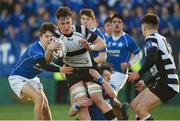 20 February 2018; Neal Moylett of Cistercian College Roscrea is tackled by Peter Masterson, left, and Tim MacMahon of St Mary's College during the Bank of Ireland Leinster Schools Senior Cup Round 2 match between Cistercian College Roscrea and St Mary's College at Donnybrook Stadium in Dublin. Photo by Daire Brennan/Sportsfile