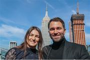 20 February 2018; Katie Taylor with her boxing promoter Eddie Hearn in attendance during the Kickoff press conference announcing the April 28, 2018 fight card to take place in the Barclays Center in Brooklyn, New York. Press conference held in New York. Photo by Ed Mulholland/Matchroom Boxing USA via Sportsfile