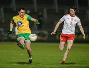 17 February 2018; Paul Brennan of Donegal in action against Conal McCann of Tyrone during the Bank of Ireland Dr. McKenna Cup Final match between Tyrone and Donegal at the Athletic Grounds in Armagh. Photo by Oliver McVeigh/Sportsfile