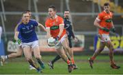 11 February 2018; Michael Stevenson of Armagh in action against Patrick Fox of Longford during the Allianz Football League Division 3 Round 3 match between Armagh and Longford at the Athletic Grounds in Armagh. Photo by Oliver McVeigh/Sportsfile