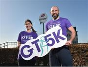 23 February 2018; Jane Quirke, Director, Grant Thornton, left, and Connacht Rugby captain John Muldoon at the Grant Thornton Corporate 5K Team Challenge 2018 Series Launch at Ballybrit Racecourse, in Galway.  Photo by Seb Daly/Sportsfile