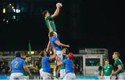 9 February 2018; Jack Dunne of Ireland gathers possession in the line-out ahead of Lodovico Manni of Italy during the U20 Six Nations Rugby Championship match between Ireland and Italy at Donnybrook Stadium, in Dublin. Photo by Piaras Ó Mídheach/Sportsfile