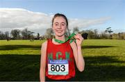 21 February 2018; Sarah Healy of Holy Child Killiney, Dublin, after winning the Senior Girls 2,500m event during the Irish Life Health Leinster Schools Cross Country at Santry Demesne in Santry, Co Dublin. Photo by Piaras Ó Mídheach/Sportsfile
