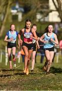 21 February 2018; Ava O'Connor of Scoil Chriost Rí Portlaoise, Co Laois, front, competing in the Junior Girls 2,000m event during the Irish Life Health Leinster Schools Cross Country at Santry Demesne in Santry, Co Dublin. Photo by Piaras Ó Mídheach/Sportsfile