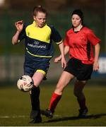 21 February 2018; Kerry Brown of Moville Community College during the Bank of Ireland FAI Schools Senior Girls National Cup Final match between Moville Community College, Donegal, and Presentation Secondary School Thurles, Tipperary, at Home Farm FC in Whitehall, Dublin. Photo by Stephen McCarthy/Sportsfile