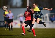 21 February 2018; Danielle McLaughlin of Moville Community College and Lauren McCormack of Presentation Secondary School Thurles during the Bank of Ireland FAI Schools Senior Girls National Cup Final match between Moville Community College, Donegal, and Presentation Secondary School Thurles, Tipperary, at Home Farm FC in Whitehall, Dublin. Photo by Stephen McCarthy/Sportsfile