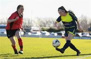 21 February 2018; Bronagh McGuinness of Moville Community College and Kate Sheridan of Presentation Secondary School Thurles during the Bank of Ireland FAI Schools Senior Girls National Cup Final match between Moville Community College, Donegal, and Presentation Secondary School Thurles, Tipperary, at Home Farm FC in Whitehall, Dublin. Photo by Stephen McCarthy/Sportsfile