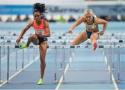 21 February 2018; Raven Clay of USA, left, and Sarah Lavin of Ireland in action in the Women's 60m hurdles heats during AIT International Athletics Grand Prix at the AIT International Arena, in Athlone, Co. Westmeath. Photo by Brendan Moran/Sportsfile