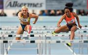 21 February 2018; Sarah Lavin of Ireland and Raven Clay of USA in action in the Women's 60m Hurdles final during AIT International Athletics Grand Prix at the AIT International Arena, in Athlone, Co. Westmeath. Photo by Brendan Moran/Sportsfile