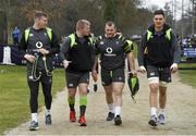 22 February 2018; Chris Farrell, left, and team-mates, from 2nd left, John Ryan, Jack McGrath and Quinn Roux arrive for Ireland rugby squad training at Carton House in Maynooth, Co Kildare. Photo by Brendan Moran/Sportsfile