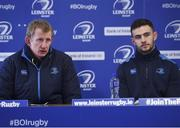 22 February 2018; Head Coach Leo Cullen, left, and Josh Murphy during a Leinster Rugby press conference at the RDS Arena in Dublin. Photo by Harry Murphy/Sportsfile