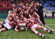 22 February 2018; Wesley College players celebrate with Vinnie Murray Cup following the Bank of Ireland Vinnie Murray Cup Final match between The Kings Hospital and Wesley College at Donnybrook Stadium in Dublin. Photo by Sam Barnes/Sportsfile