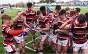 22 February 2018; Wesley College players celebrate with the Vinnie Murray Cup following the Bank of Ireland Vinnie Murray Cup Final match between The Kings Hospital and Wesley College at Donnybrook Stadium in Dublin. Photo by Sam Barnes/Sportsfile
