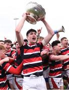 22 February 2018; Wesley College players, including Fergus Noonan, centre, celebrate with the Vinnie Murray Cup following the Bank of Ireland Vinnie Murray Cup Final match between The Kings Hospital and Wesley College at Donnybrook Stadium in Dublin. Photo by Sam Barnes/Sportsfile