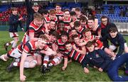 22 February 2018; Wesley College players celebrate following the Bank of Ireland Vinnie Murray Cup Final match between The Kings Hospital and Wesley College at Donnybrook Stadium in Dublin. Photo by Sam Barnes/Sportsfile