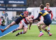 22 February 2018; Ian Sheridan of Wesley College is tackled by Connell Howley, left, and Ian West of The King's Hospital during the Bank of Ireland Vinnie Murray Cup Final match between The Kings Hospital and Wesley College at Donnybrook Stadium in Dublin. Photo by Sam Barnes/Sportsfile