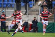 22 February 2018; Jack Atkinson of Wesley College kicks a conversion during the Bank of Ireland Vinnie Murray Cup Final match between The Kings Hospital and Wesley College at Donnybrook Stadium in Dublin. Photo by Sam Barnes/Sportsfile