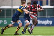 22 February 2018; Sam Illo of Wesley College is tackled by Felix Campbell of The King's Hospital during the Bank of Ireland Vinnie Murray Cup Final match between The Kings Hospital and Wesley College at Donnybrook Stadium in Dublin. Photo by Sam Barnes/Sportsfile